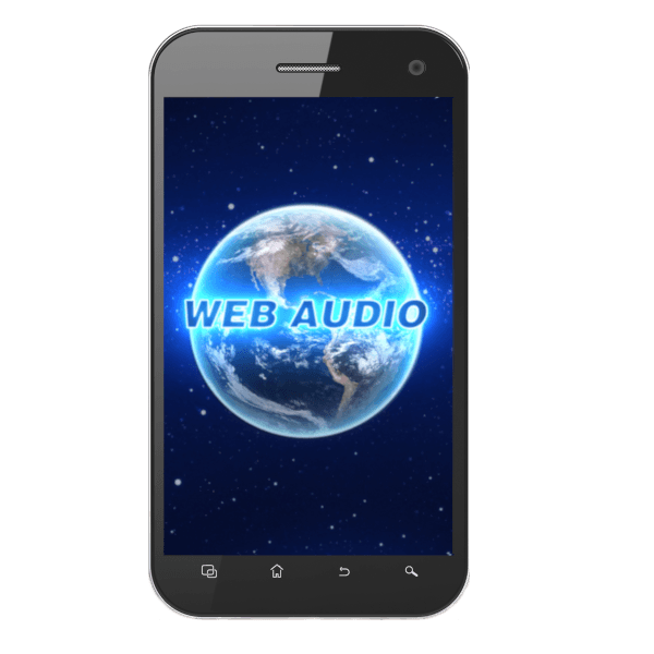 Picture of a smartphone with a picture of the webaudio app in the center